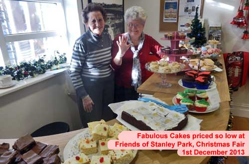 Lots of lovely cakes served by two lovely ladies at the Christmas Fair Stanley Park, Blackpool