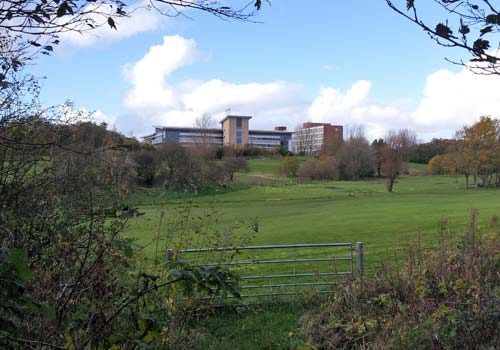 Stanley Park area - view of Blackpool Hospital new cardiac building from the walk